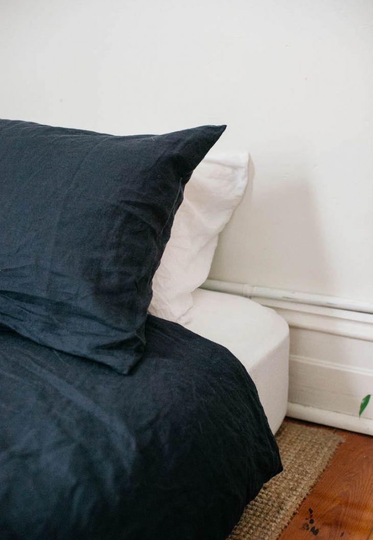 navy linen bedding