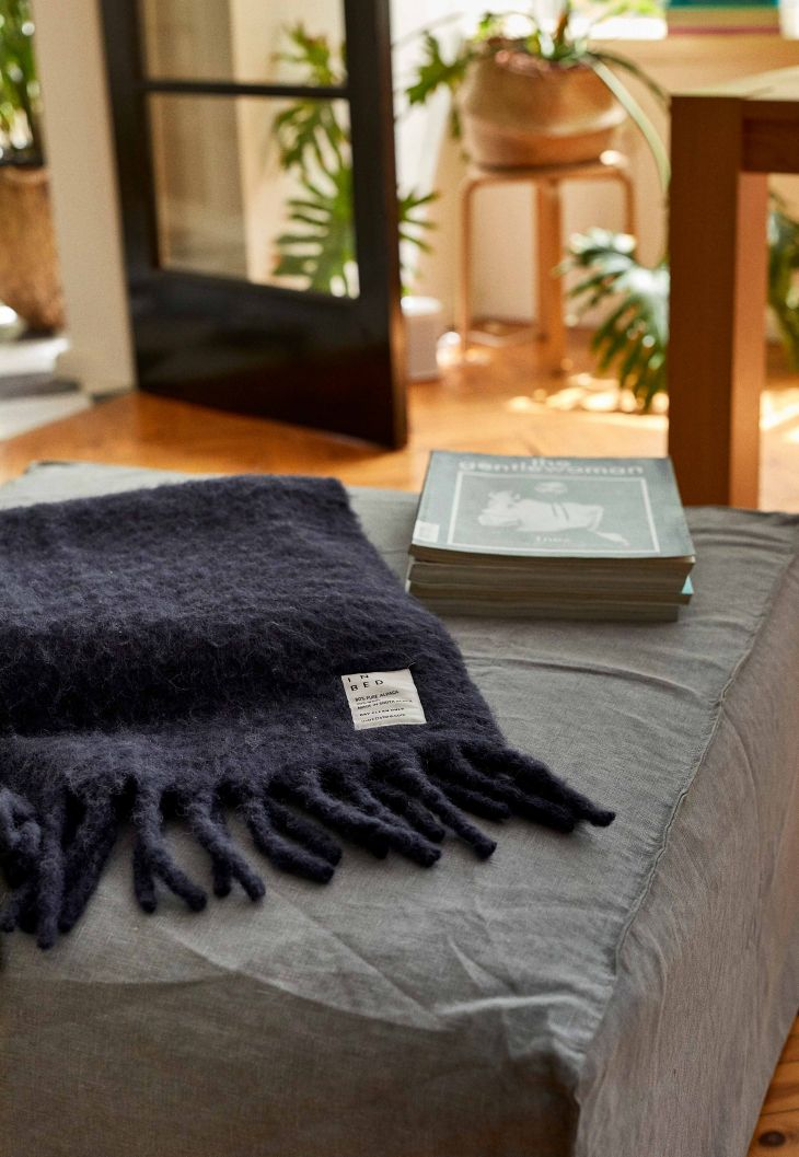 Alpaca Throw in Navy by IN BED.