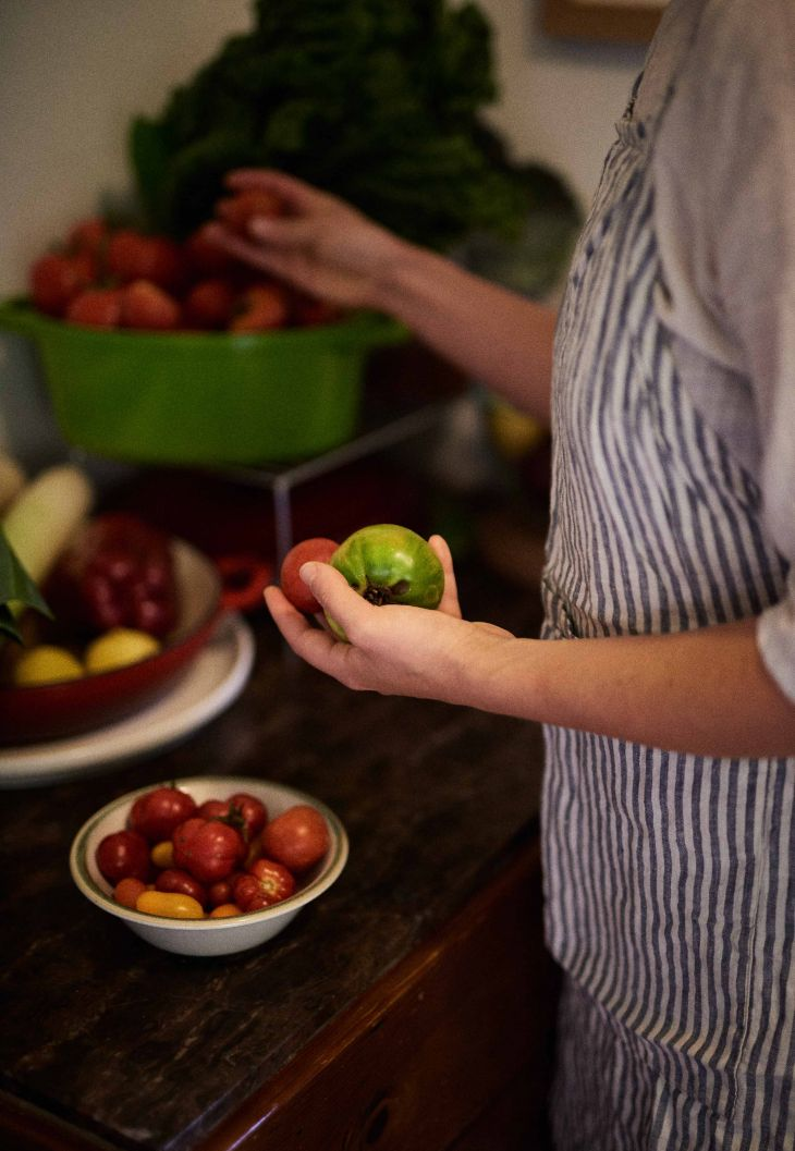 Linen apron in grey & white stripes by IN BED